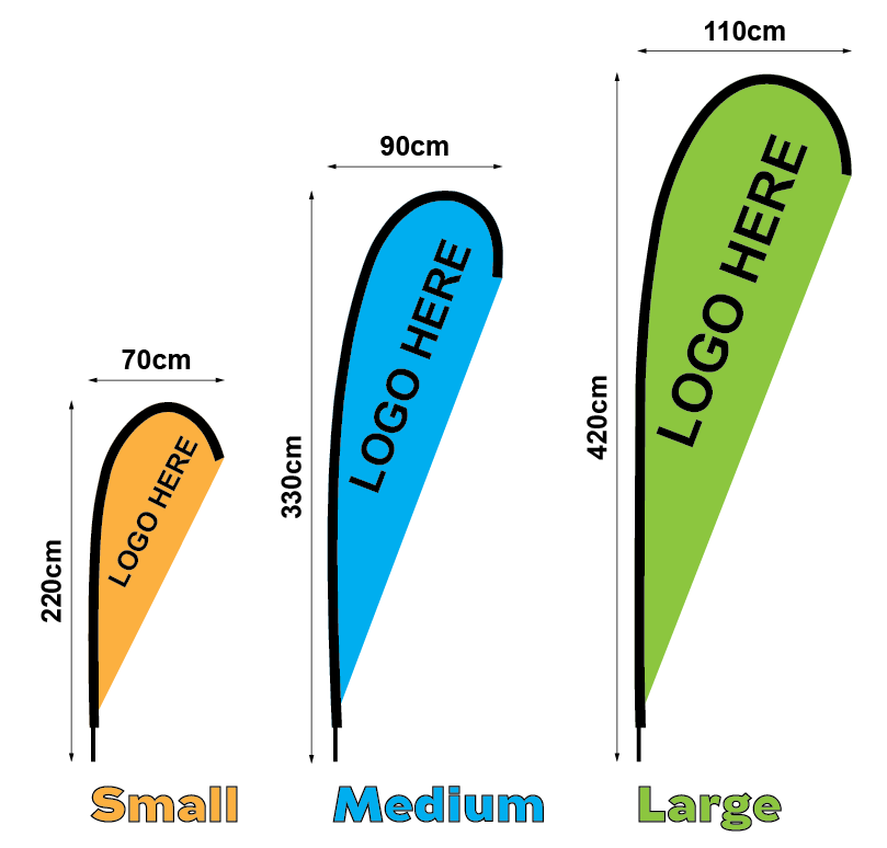 Diagram of sizes - small medium large teardrop banners
