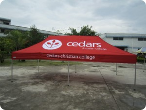 4.5m x 3m school marquee with logo print