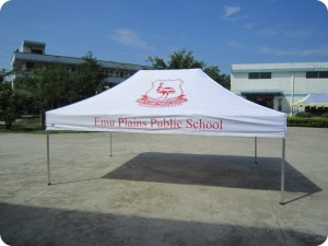 Branded outdoor tent without walls