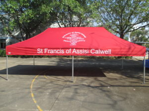 School tent Printed crest and skirt