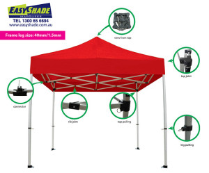 Marquee Gazebo Diagram with zoom in leg details