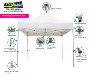 Marquee Gazebo Diagram with zoom in details