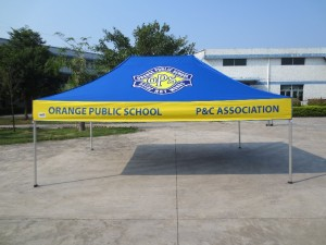 4.5m x 3m school printed tent - blue and yellow