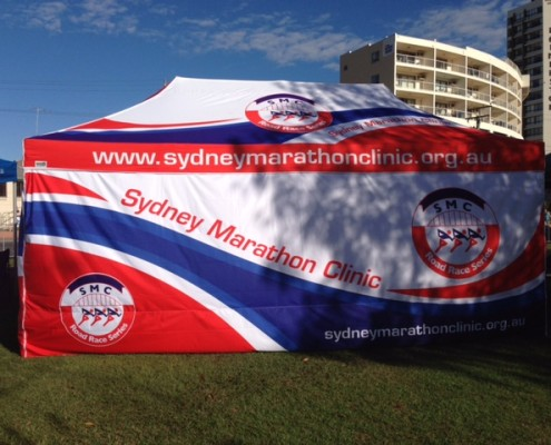 Sydney Marathon club marquee printed with branded wall