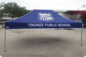 4.5m x 3m school printed tent - blue and white