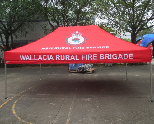 Wallacia rural Fire Brigade branded marquee