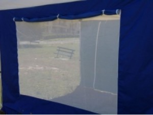 Gazebo accessory - navy blue and white mesh walls