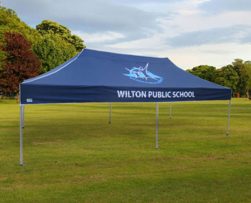 Wilton tent with print school