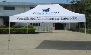 Corporate marquee with printing