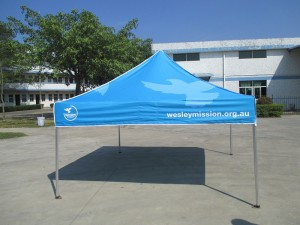 Community Marquee with logo and skirt print