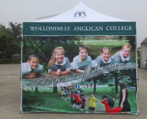 Printed school marquee with printed wall