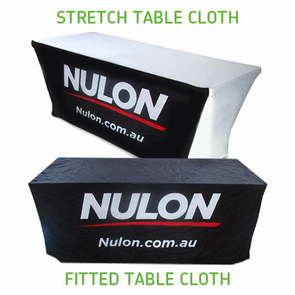Nulon printed table cloths fitted and stretch