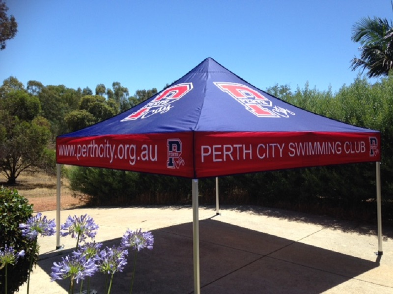 Perth City Swimming Club printed shade marquee 3mx3m
