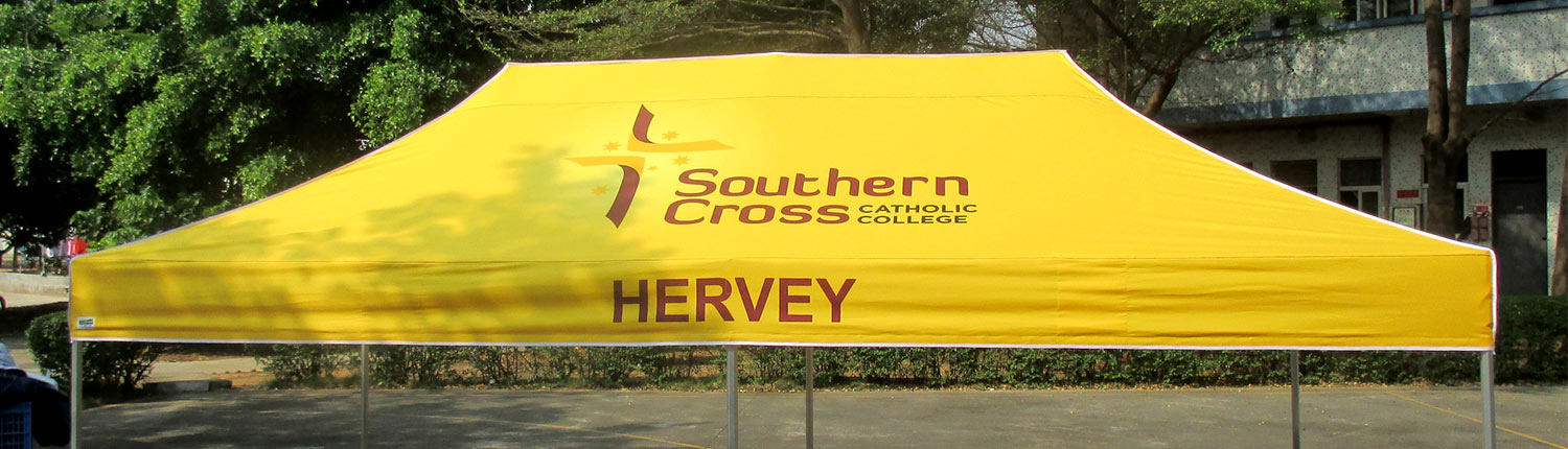Southern Cross Catholic school branded shade canopy
