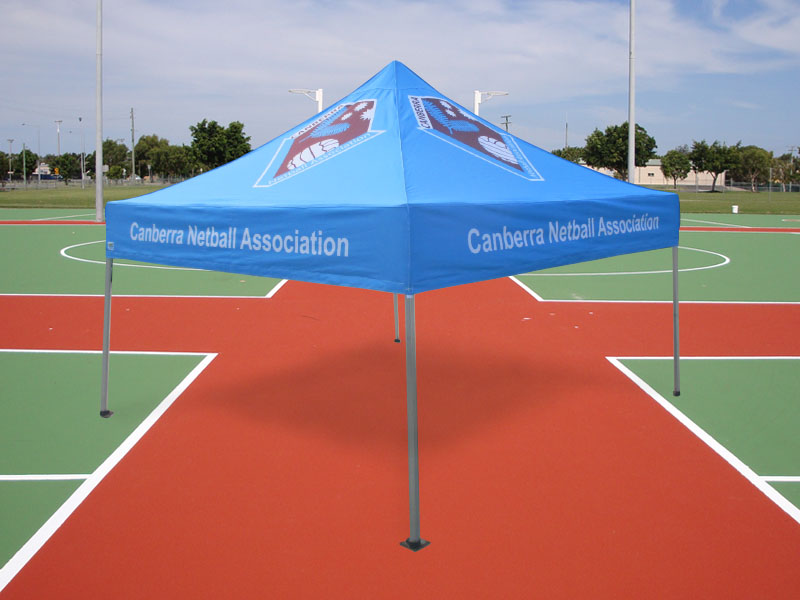 Canberra Netball branded sports marquee printed