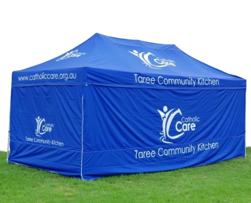 Taree branded gazebo with printed walls