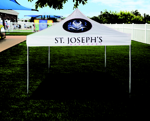 St Joseph branded school marquee with crest 3m x 3m