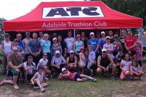 Triathlon club tent with custom print